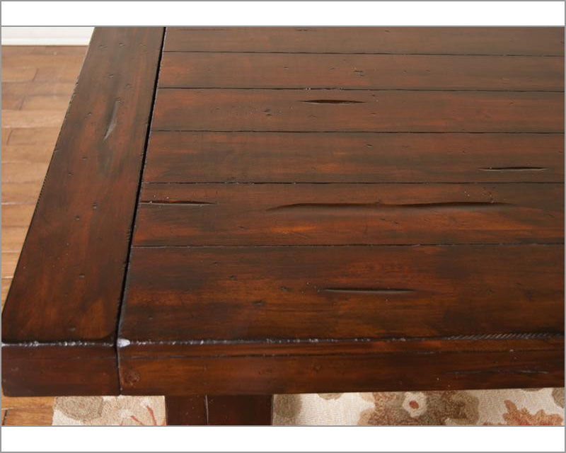 Vineyard Rustic Mahogany Wood Rectangle Extension Dining Set. Sunny Designs  ...