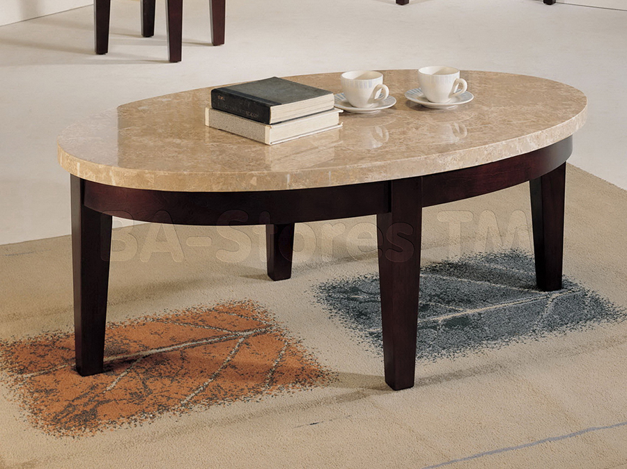 Britney Walnut White Oval Coffee Table With Marble Top Shop For - Walnut and marble coffee table