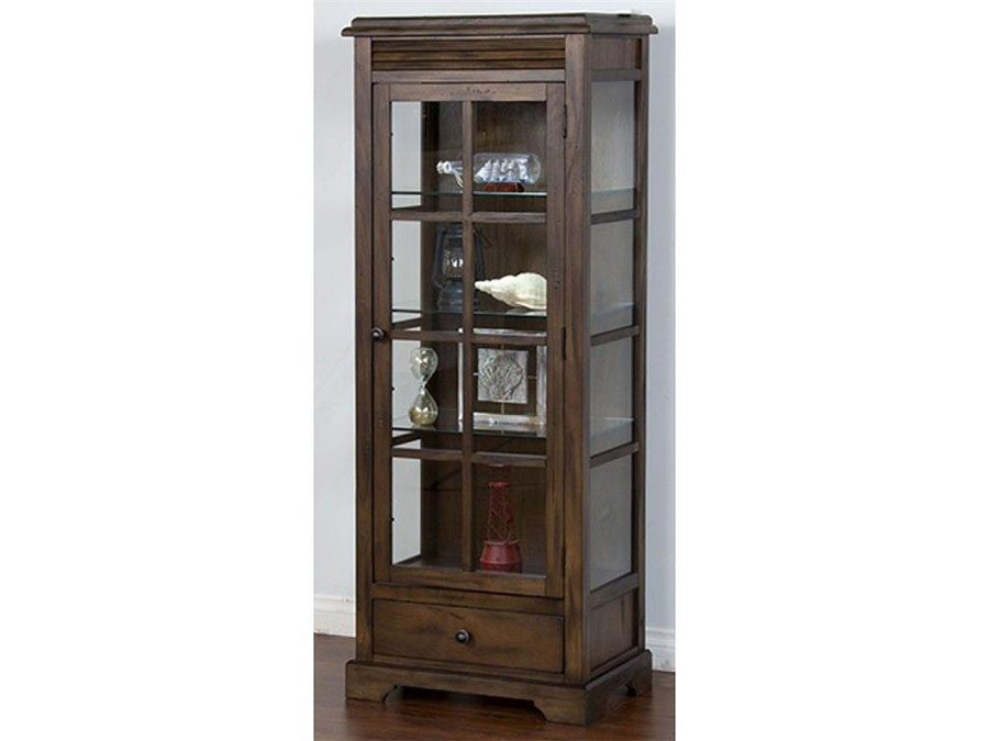 Savannah Antique Charcoal Wood Glass Doors Curio Cabinet