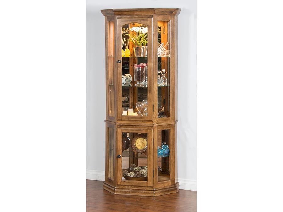 Sedona rustic oak wood touch light shelves curio cabinet