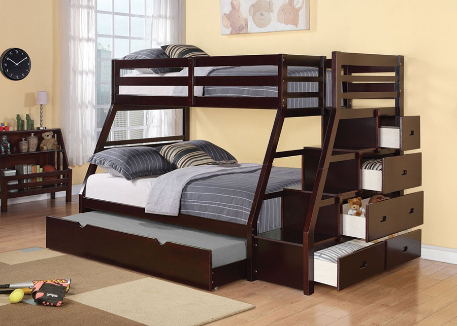 Jason Espresso Twin Full Bunk Bed With Storage Ladder And Trundle ...