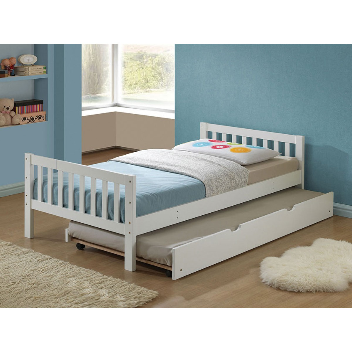 Cutie White Twin Bed With Trundle