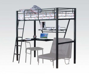 Senon Silver And Black Metal Twin Loft Bed/Desk