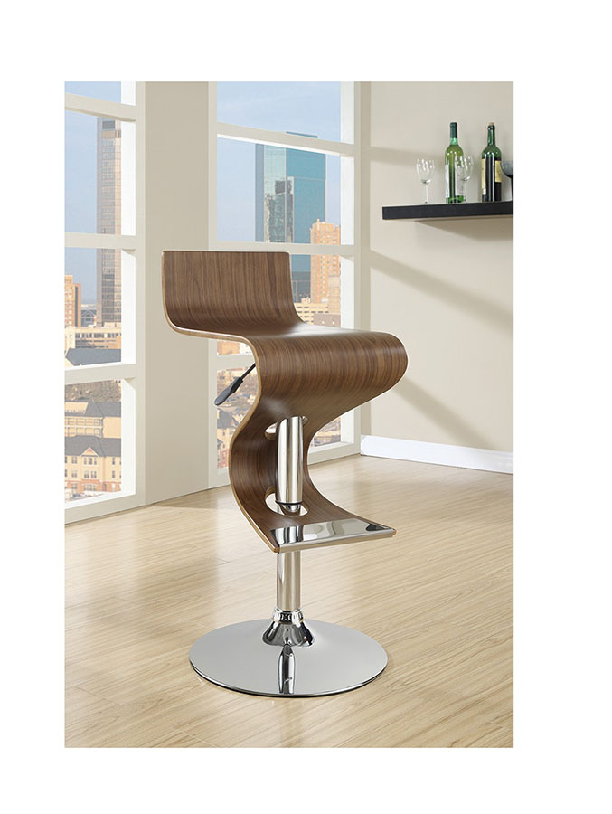 Contemporary Style Walnut Adjust Bar Stool Shop For Affordable