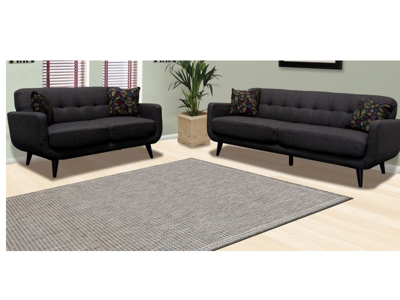 2Pcs Charcoal Sofa Set