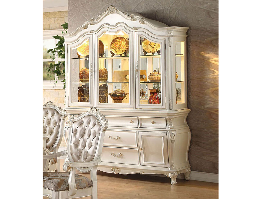 Marvelous Chantelle Pearl White Hutch Buffet China Cabinet Home Interior And Landscaping Analalmasignezvosmurscom