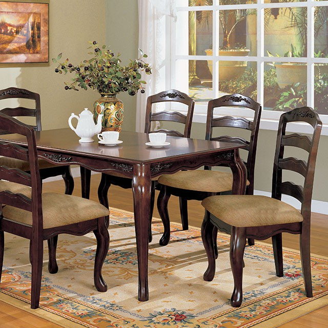Townsville Contemporary Dark Walnut 60 Inch Dining Table Set