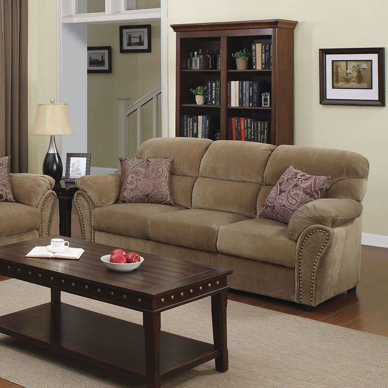 Patricia Light Brown Sofa With Pillows