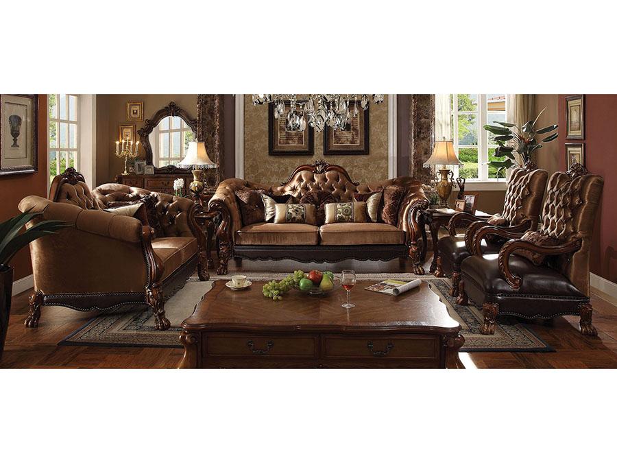 Dresden Golden Brown Velvet Cherry Oak Sofa Set
