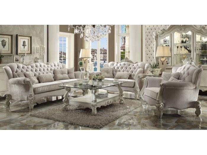 Delicieux Versailles Ivory Velvet Sofa Set
