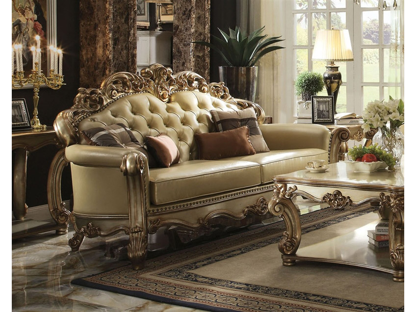Super Vendome Gold Sofa With Pillows Home Interior And Landscaping Dextoversignezvosmurscom
