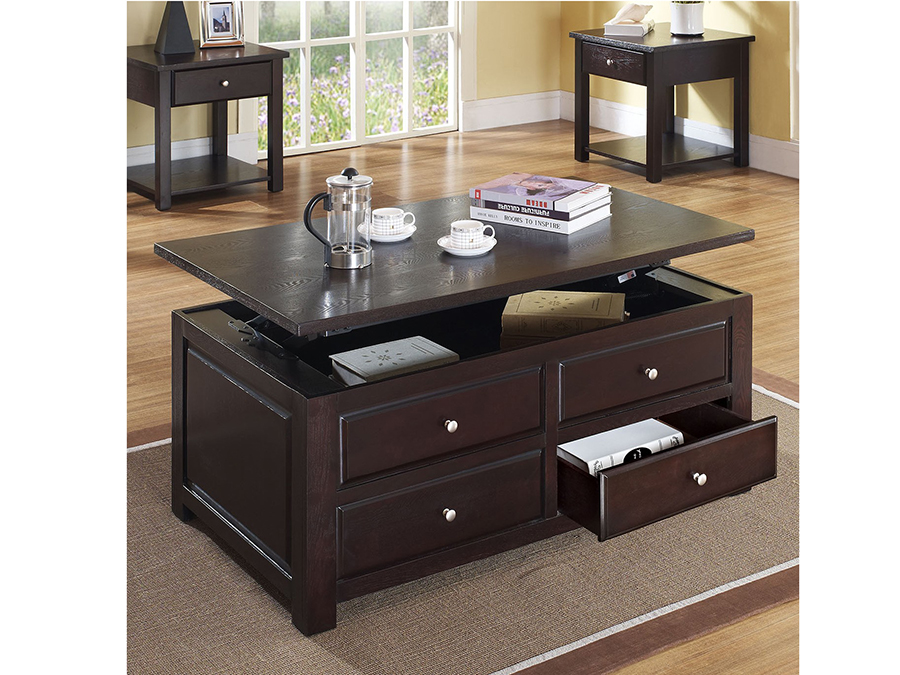 Malden Espresso Lift Top Coffee Table With Drawers