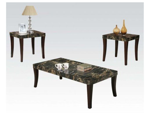 Gale 3pcs Black Faux Marble Top Coffee Table Set