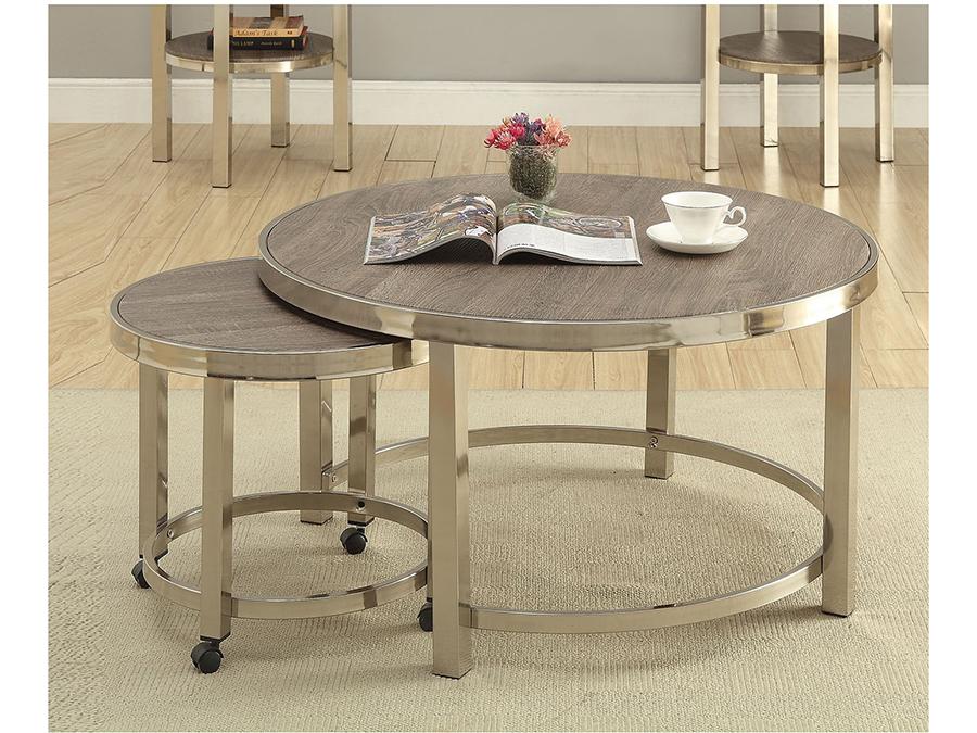 Elwyn Round Walnut Brush Nickel Coffee Table