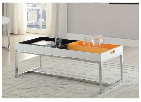 Maisie White Chrome Coffee Table