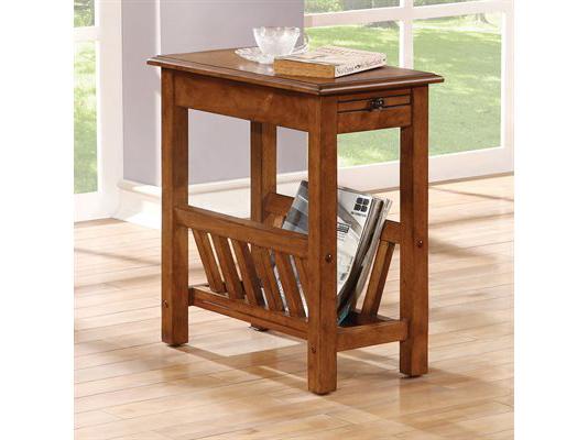 Jayme Tobacco Oak Side Table With Shelf