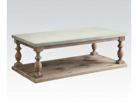 Leah Concrete Gray Salvage Oak Coffee Table