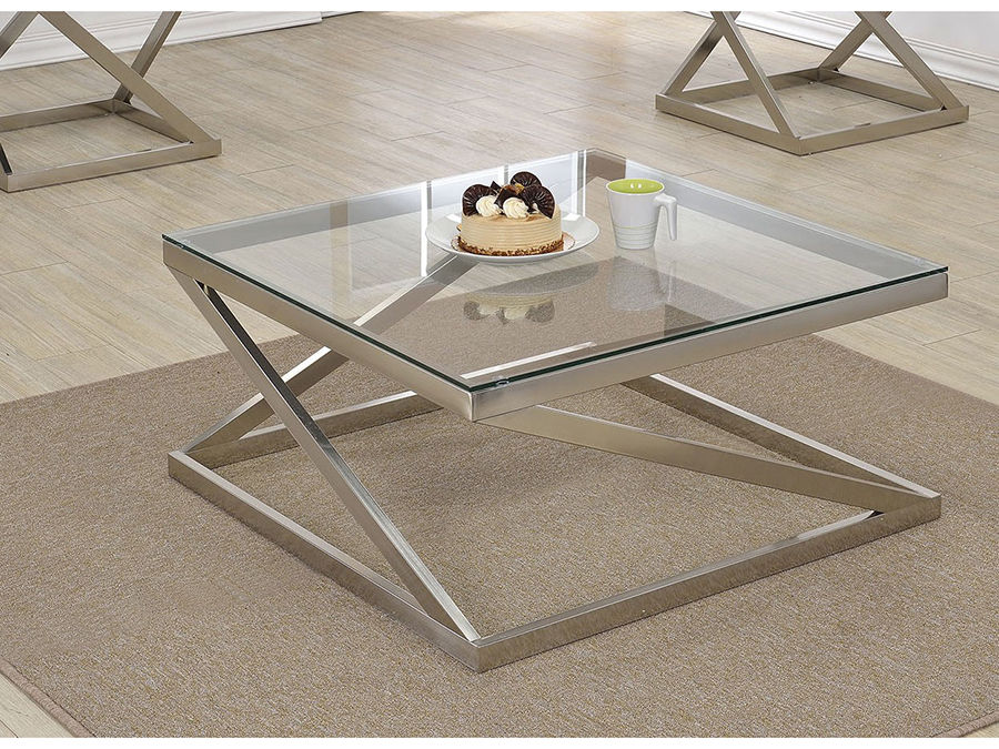 Ordinaire Ollie Brushed Nickel Clear Glass Coffee Table