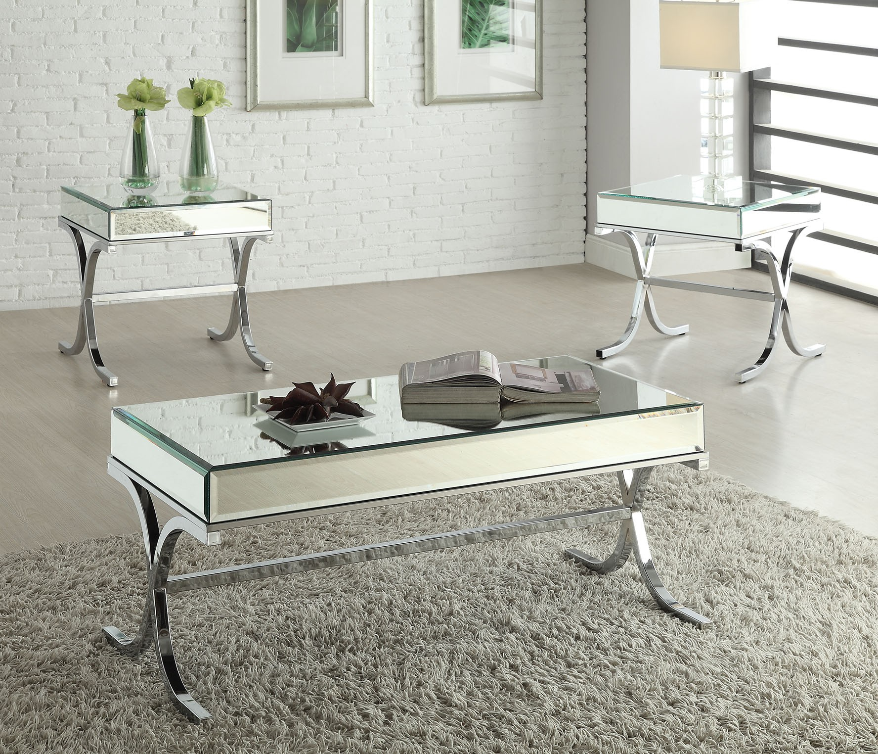 Deco Chrome Coffee Table: Yuri Mirrored Top Chrome Coffee Table