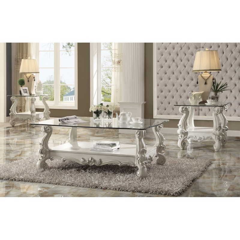 Versailles Bone White Clear Glass Coffee Table