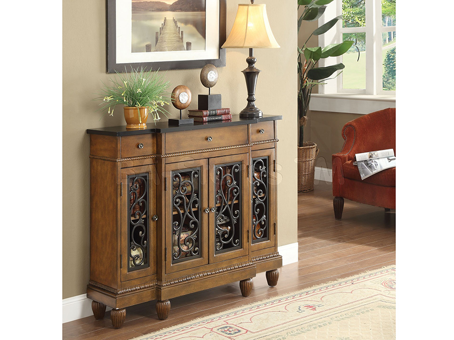 Vidi Oak Wood 3 Drawer Accent Console Table