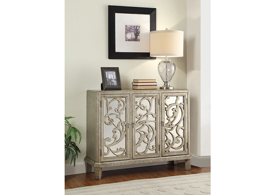 Bailea Silver Gray Console Table With 3 Mirrored Door Shop For