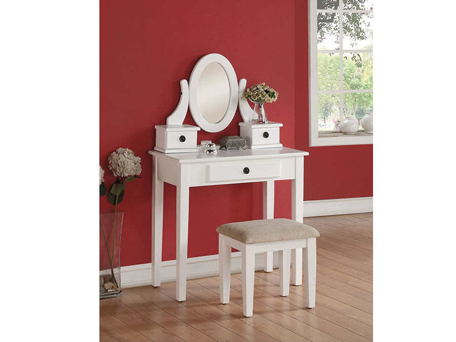 Jayle White Vanity Set