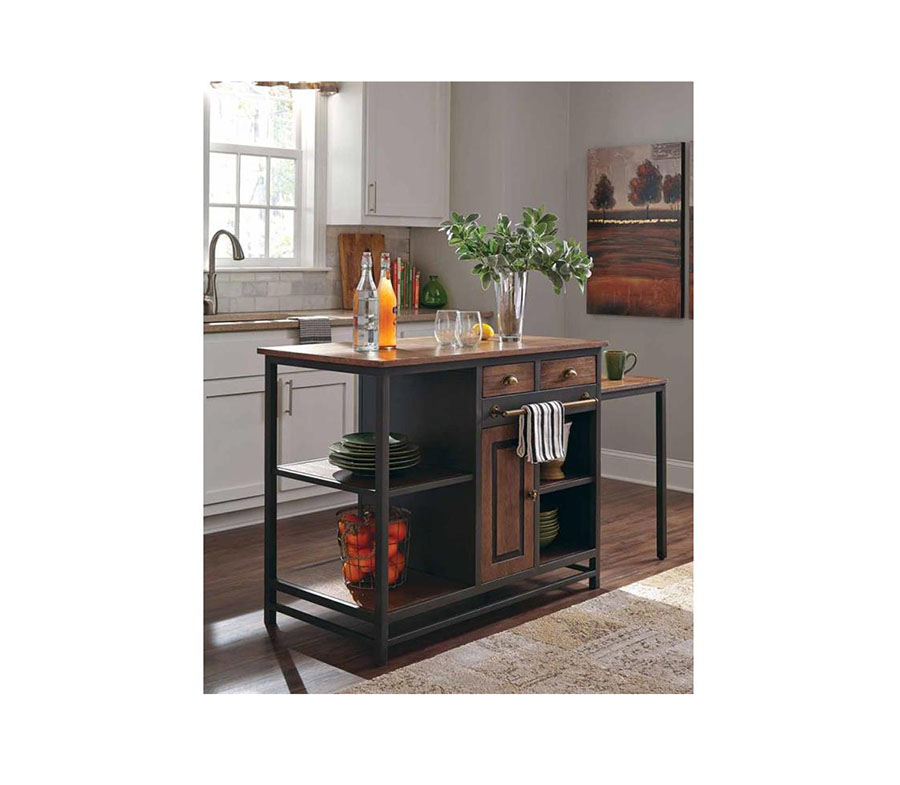 Rustic Wire Brushed Wood Kitchen Island