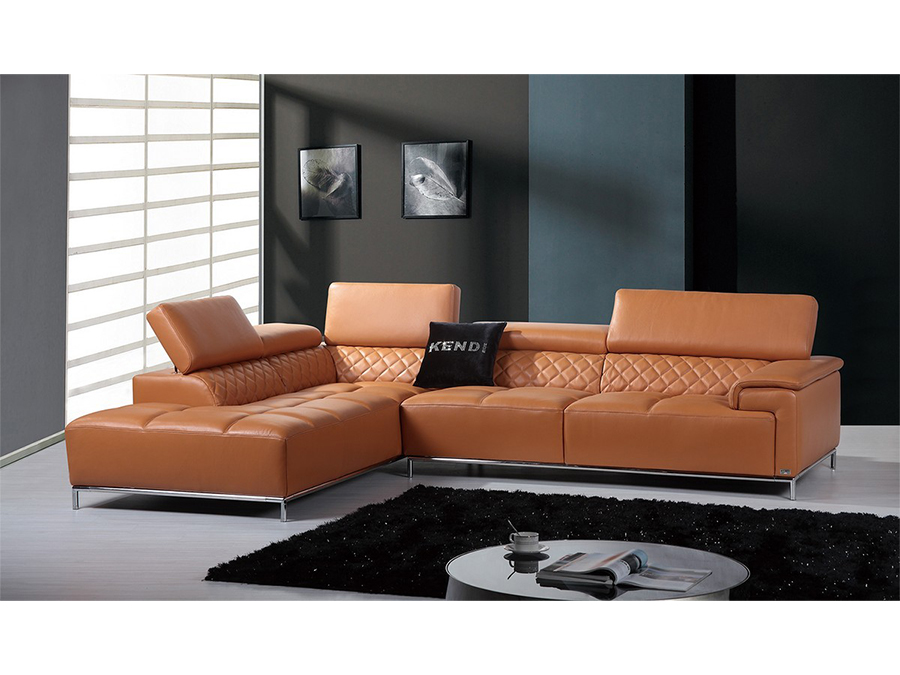 Miami Contemporary Leather Sectional Sofa Set | Tyres2c