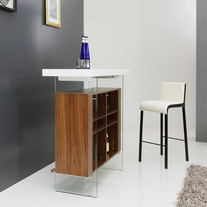 White Walnut Floating Bar Table