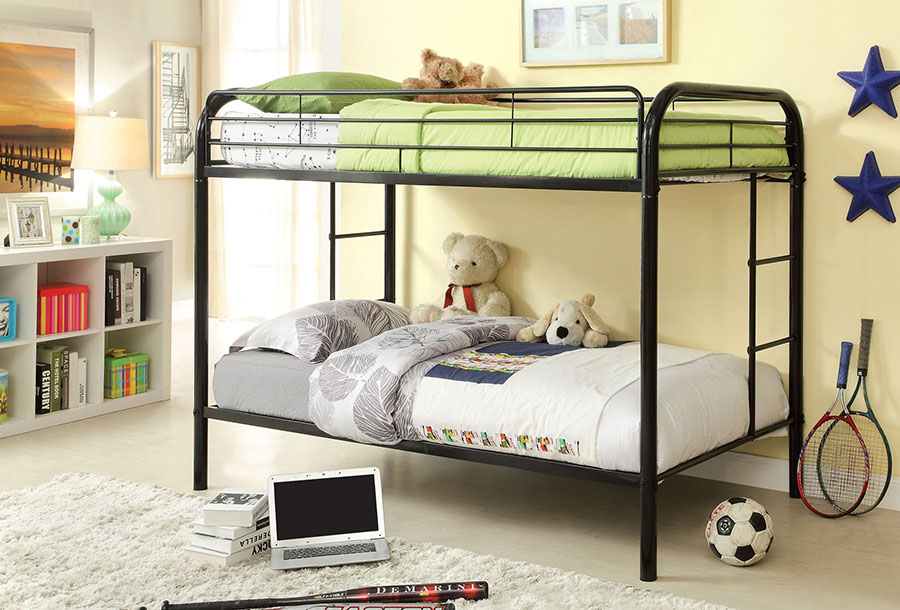 Rainbow Black Metal Kids Twin Twin Bunk Bed