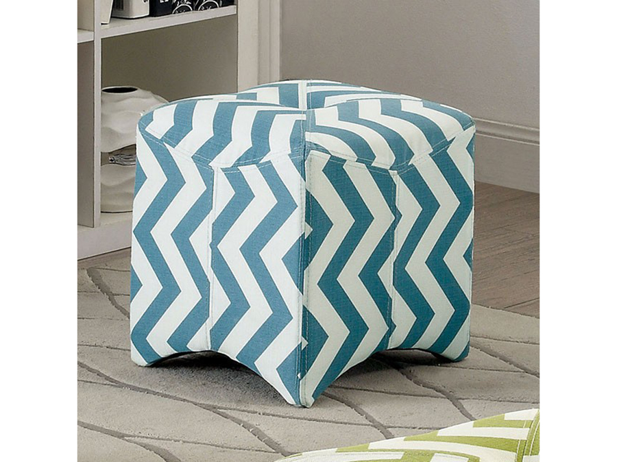 Zahra Ii Contemporary Blue Fabric Ottoman Shop For Affordable Home
