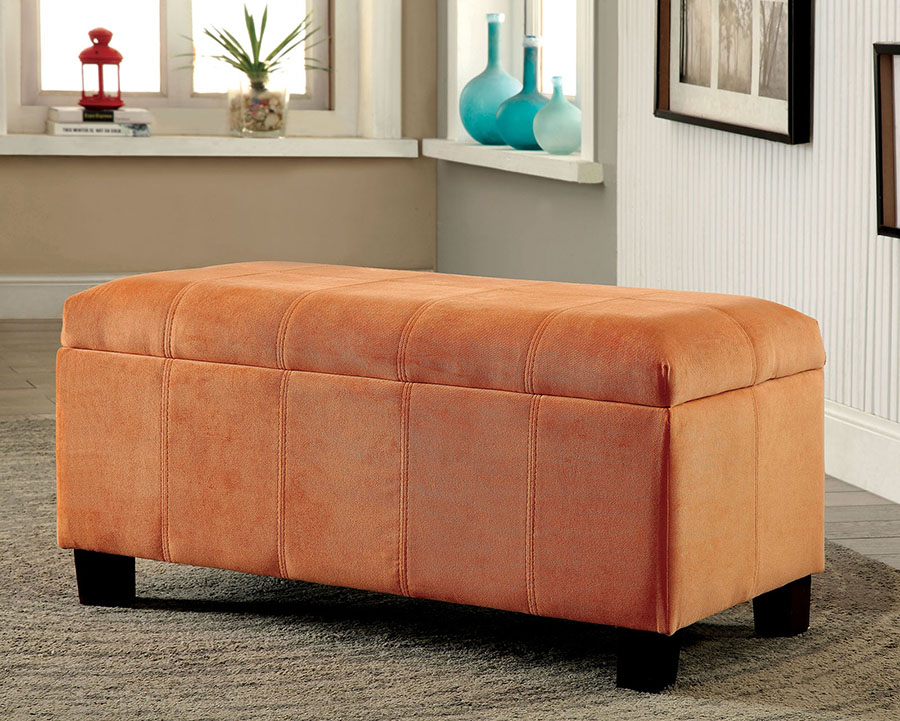 Awesome Remi Contemporary Orange Flannelette Storage Ottoman Machost Co Dining Chair Design Ideas Machostcouk
