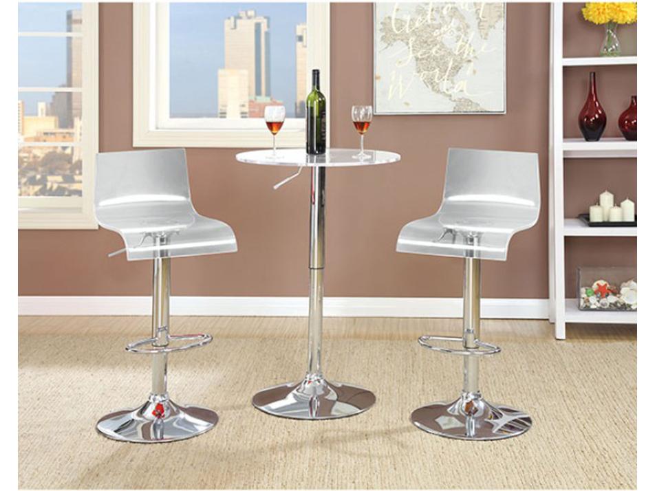 Trixy Contemporary Chrome Finish Acrylic Bar Table