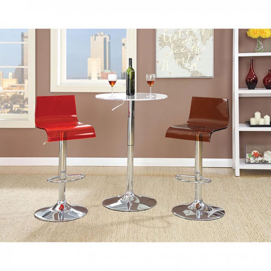 Trixy 3pcs Contemporary Chrome Finish Acrylic Bar Table Set