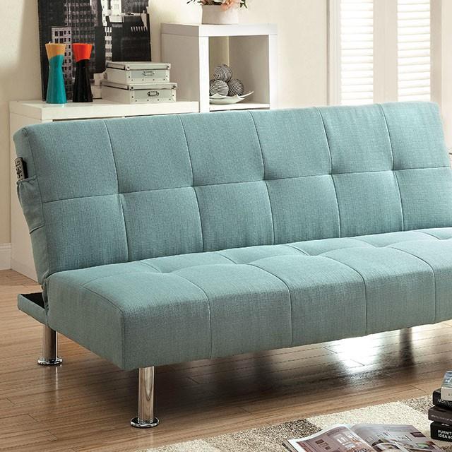 Dewey Contemporary Blue Flax Fabric Futon Sofa Bed