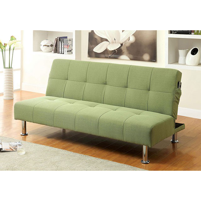 Dewey Contemporary Green Flax Fabric Futon Sofa Bed