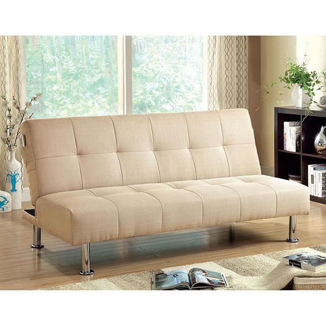 Dewey Contemporary Ivory Flax Fabric Futon Sofa Bed - Shop for ...