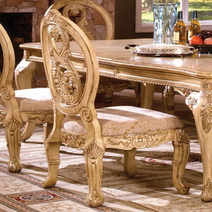 Tuscany Traditional Antique White Finish Dining Table Set