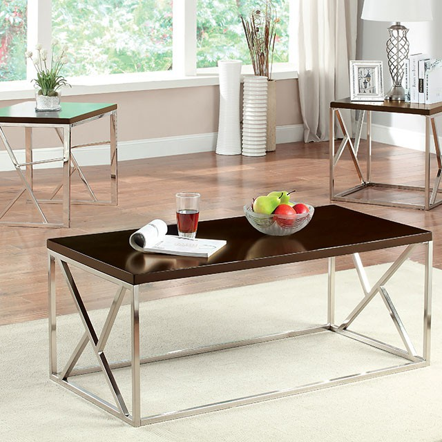 Kuzen Pieces Espresso Finish Coffee Table Set Shop For - Espresso finish coffee table set