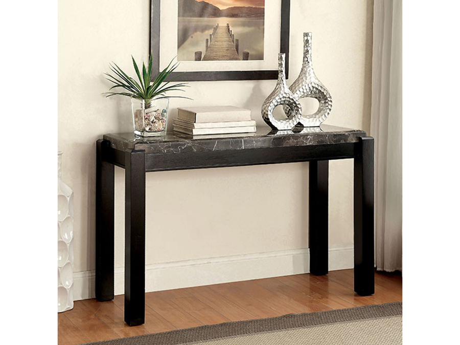 Gladstone Gray Finish Marble Top Sofa Table