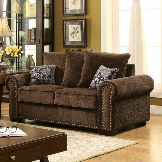 Rydel Brown Fabric Sofa Set