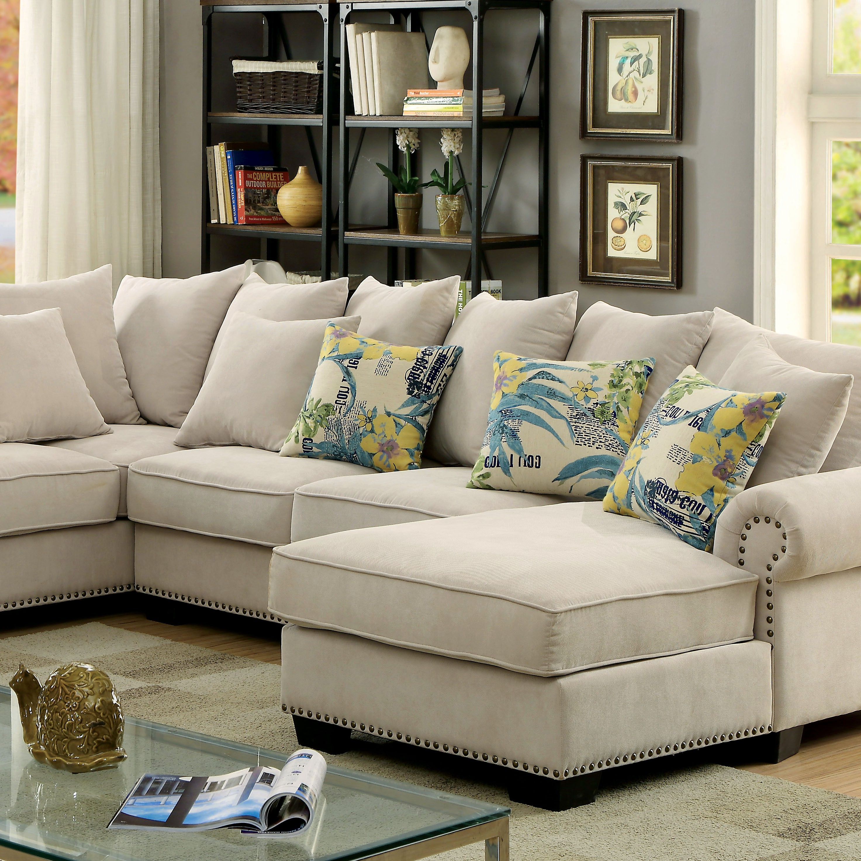 Skyler Transitional Ivory Fabric Sectional Sofa Couch