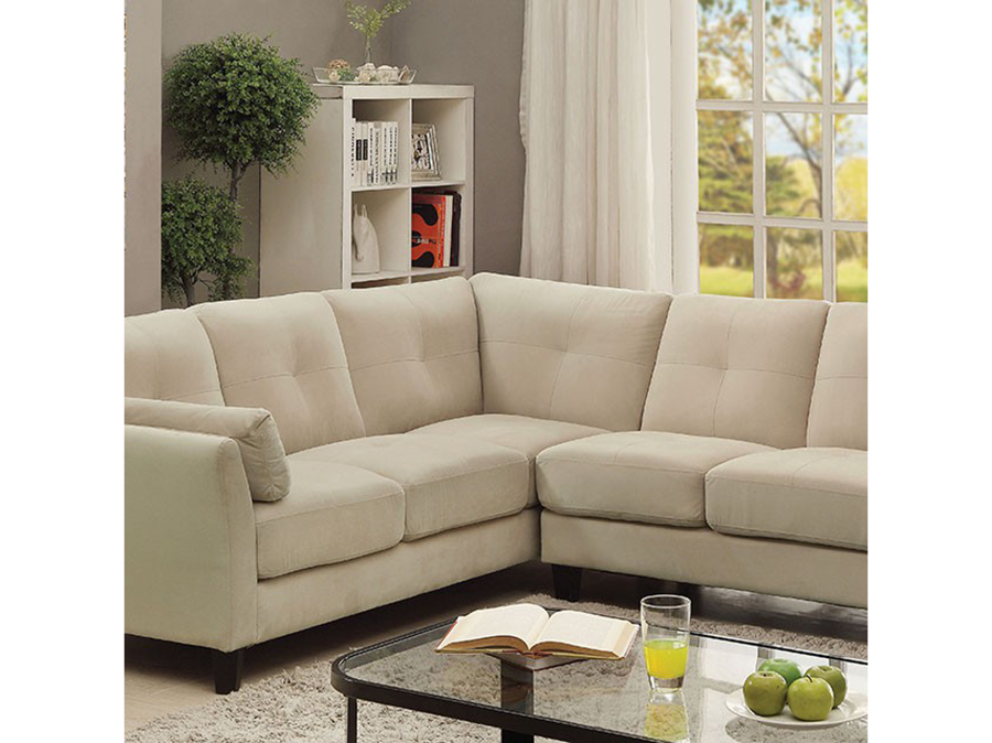 Peever II Contemporary Beige Fabric Sectional Sofa Couch