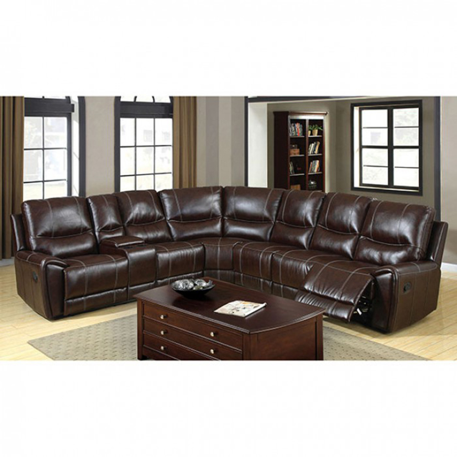 Keystone Brown Bonded Leather Match 3 Recliners Sectional Sofa