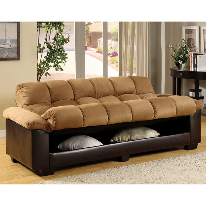 Brantford Contemporary Tan Espresso Storage Futon Sofa Bed