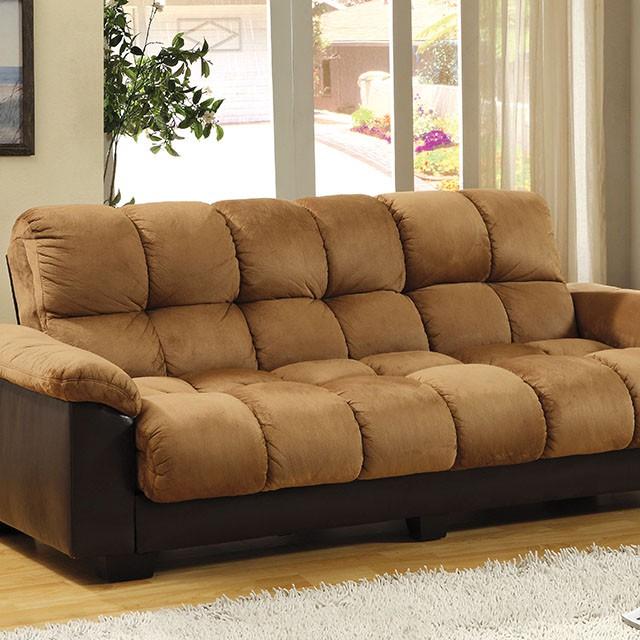 Brantford Contemporary Tan Espresso Storage Futon Sofa Bed