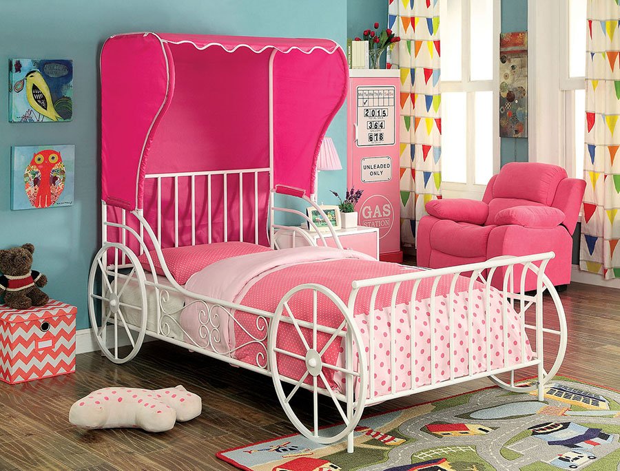 Contemporary White Pink Metal Twin Bed