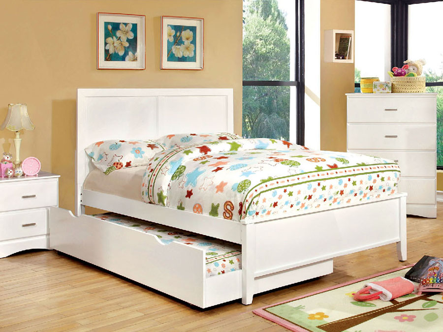 Prismo White Full Bed With Trundle - Shop for Affordable Home ...