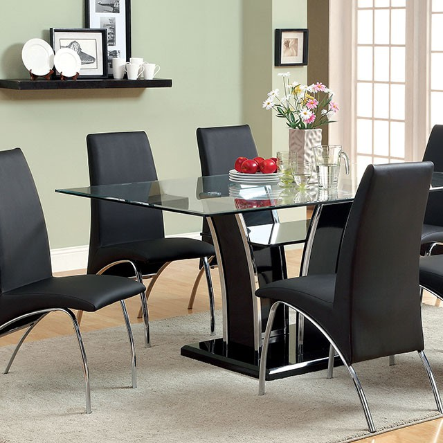 Glenview Black High Gloss Dining Table Set